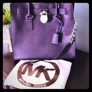 Michael Kors Hamilton Saffiano Tote Purple Leather